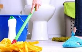 membersihkan toilet
